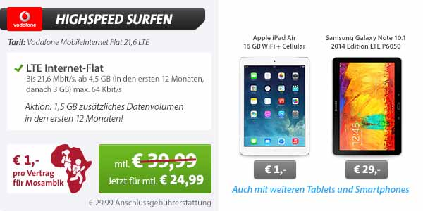 iPad Air + Cellular + Vodafone LTE Flatrate nur 24.99€ mtl