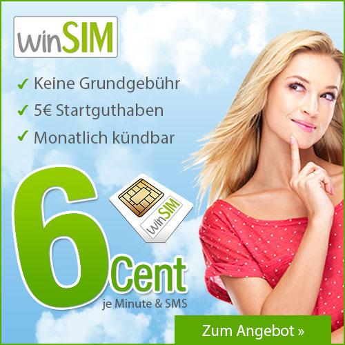Prepaid 6 Cent pro Minute und 6 Cent SMS