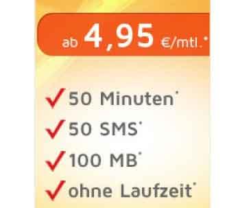 50 Min + 50 SMS + Internet Flat ohne Laufzeit ab 4.95€ mtl
