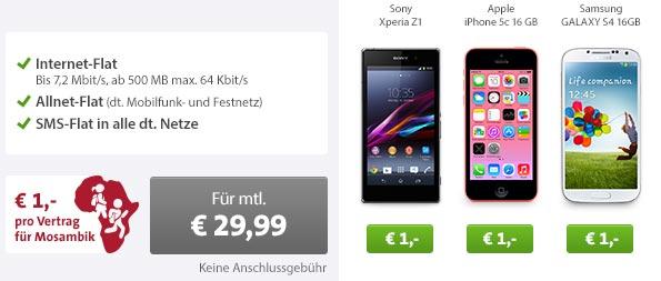 iPhone 5c oder Galaxy S4 + AllNet Flat nur 29.99€ mtl