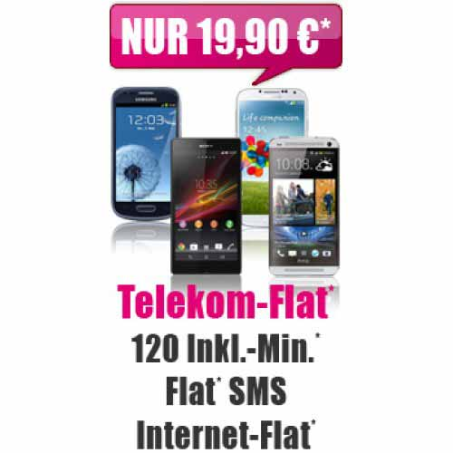 Telekom Flat + 120 Min + SMS Flat + Smartphone 19.90€ mtl