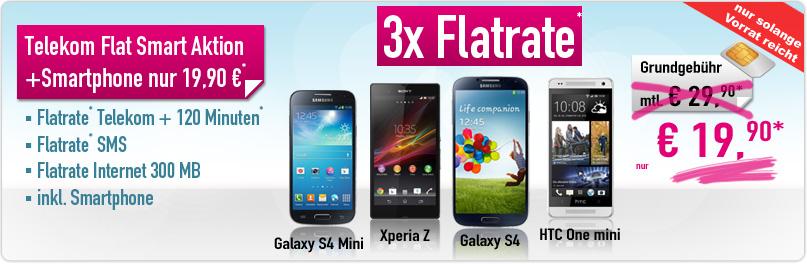 Telekom Flat + 120 Min + SMS Flat + Handy 19.90€ mtl