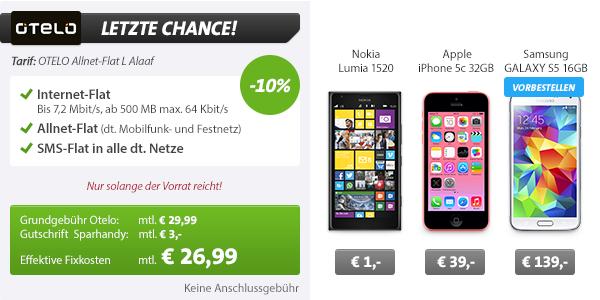 Galaxy S5 16GB + AllNet Flatrate nur 26.99€ mtl