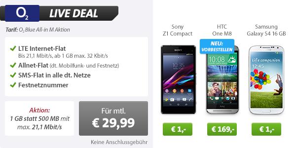 HTC One M8 + AllNet Flat + SMS Flat + Datenflat 29.99€ mtl
