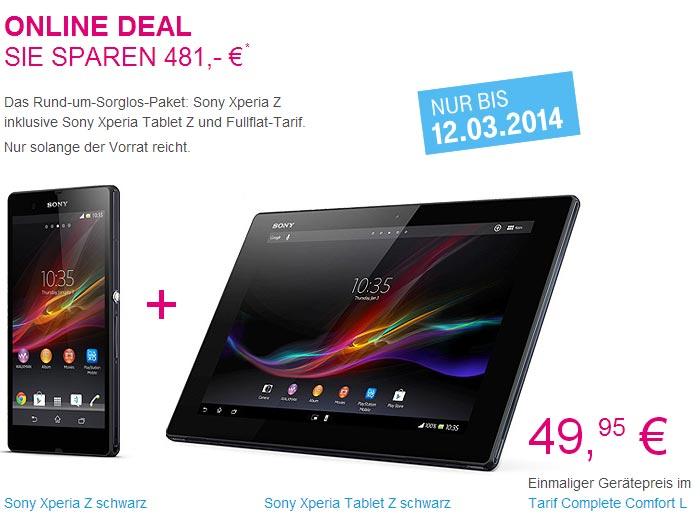 Sony Xperia Z + Xperia Tablet Z einmalig 49,95€