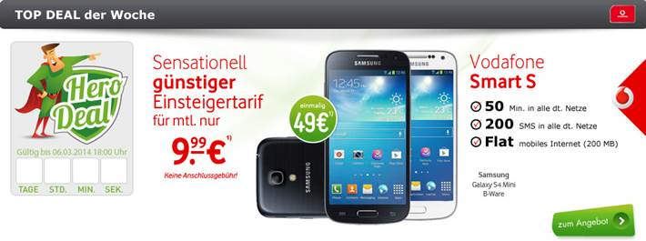 Vodafone Smart S + Galaxy S4 Mini 9.99€ mtl