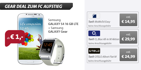 Galaxy Gear V700 + S4 + 60 Min/SMS + Internet 14.95€ mtl
