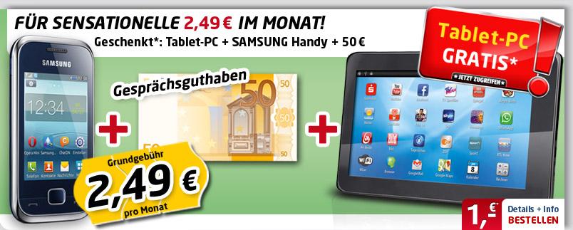 Android Tab + Samsung C3310R 2.49€ mtl