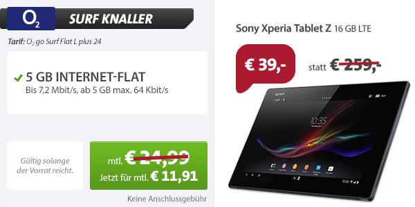 o2 go Surf Flat L mit Sony Tablet Z 11.91€ mtl