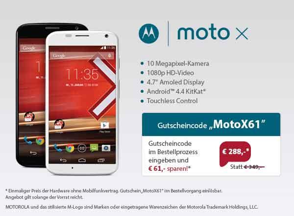 Motorola Moto X ohne Vertrag für nur 288 Euro