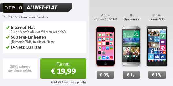 HTC One mini 2 + OTELO Allnet-Basic S Deluxe 19.99€ mtl