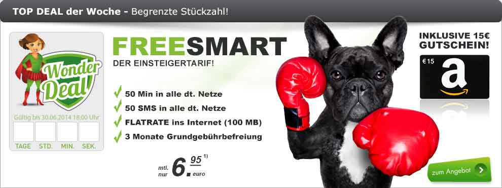 FreeSmart (50Min/SMS) + Amazon-Gutschein 6.95€ mtl