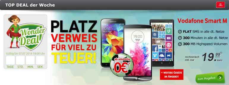Vodafone Smart M mit iPhone 5S 19.99€ mtl