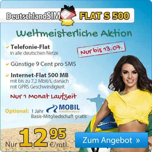 DeutschlandSIM FLAT S 500 + Automobilclub Mobil