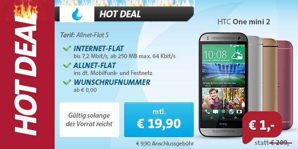 HTC One mini 2 + AllNet Flat (D1) nur 19.90€ mtl