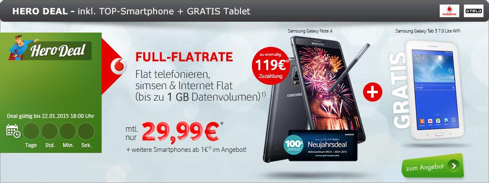 Allnet Flat mit Samsung Smartpone und Gratis Tab 29.99€ mtl