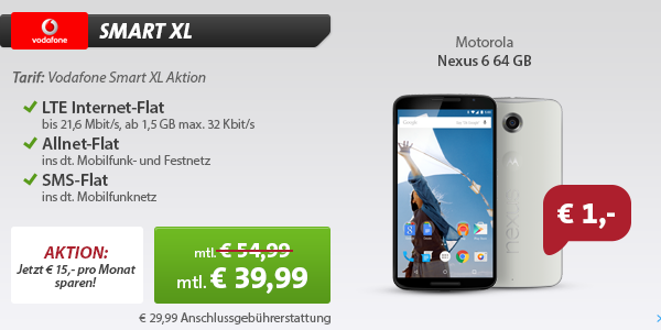 Motorola Nexus 6 64GB + Vodafone Smart XL Aktion