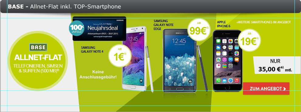 BASE All in ALLNET + Note 4 + 100€ Cashback nur 35€ mtl.