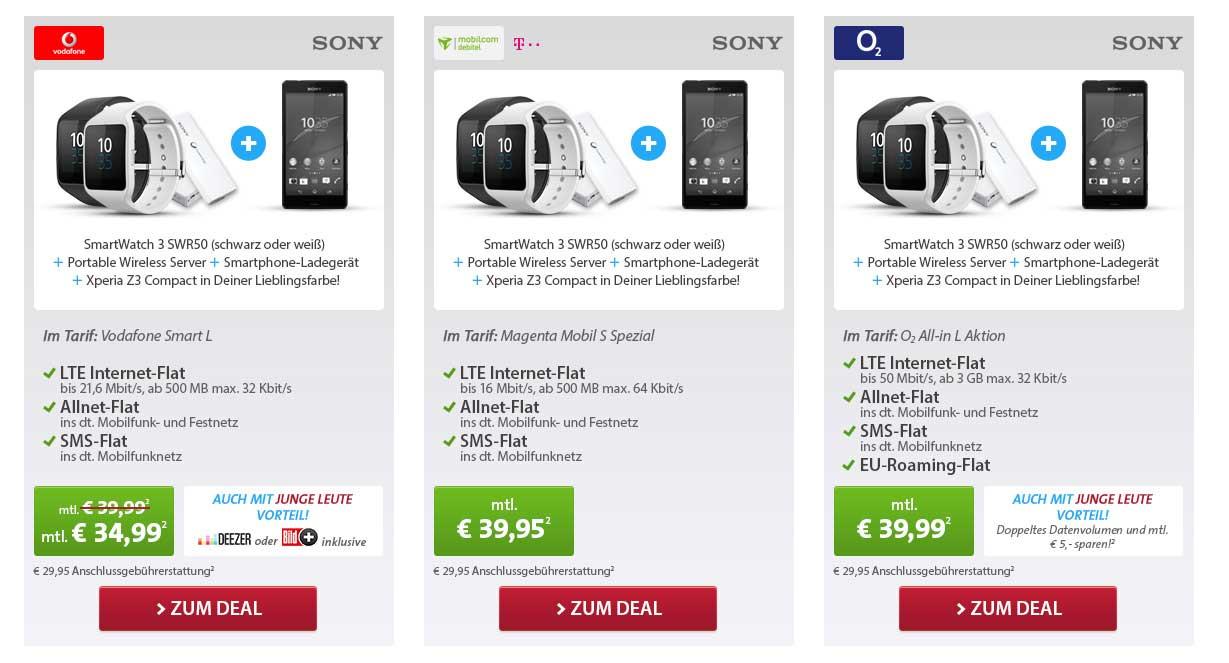 Sony Mega Deal - D1, D2 und o2 Netz
