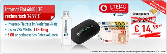 Internet Flat LTE 6000 nur 14.99€ mtl