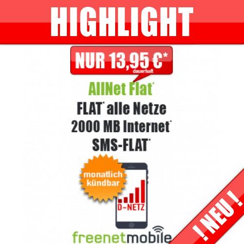 freeFlat 2000 MB ohne Laufzeit nur 13.99€ mtl.