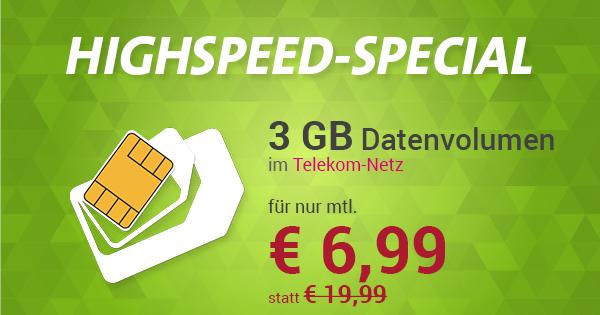 Internet-Flat 3.000 Telekom für nur € 6,99 monatlich