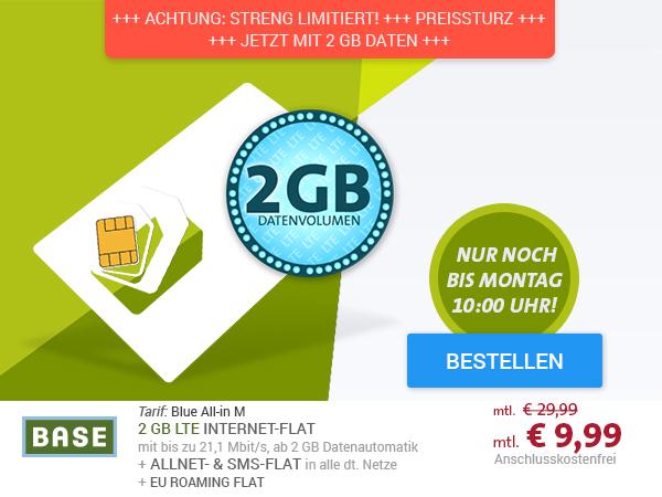 BASE Blue All-in M SIM-Only mit EU Roaming-Flat nur € 9,99 mtl.