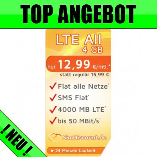 LTE Allnet 4 GB für nur 12,99 Euro moantlich.