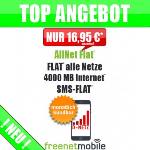 freeFlat 4000 MB ohne Laufzeit - Vodafone - nur 16,95€ mtl.