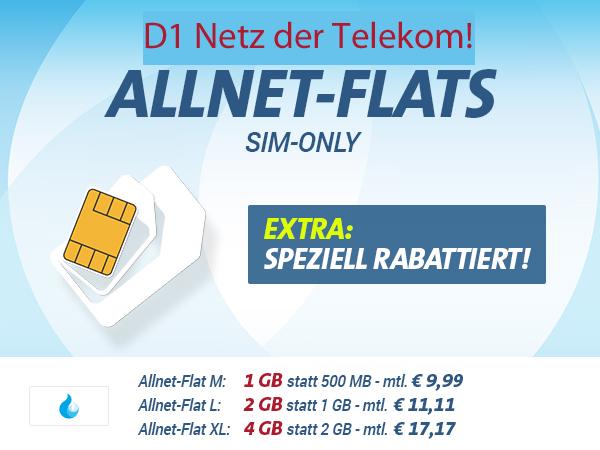 ALLNET-FLAT Telekom Netz mit 1GB nur 9,99€ mtl.