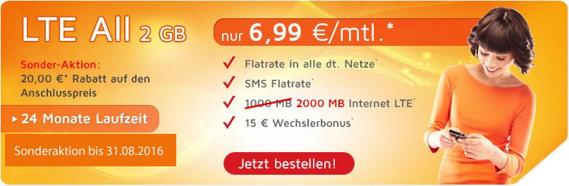 LTE 2GB Allnet Flat für nur 6,99 Euro monatlich.