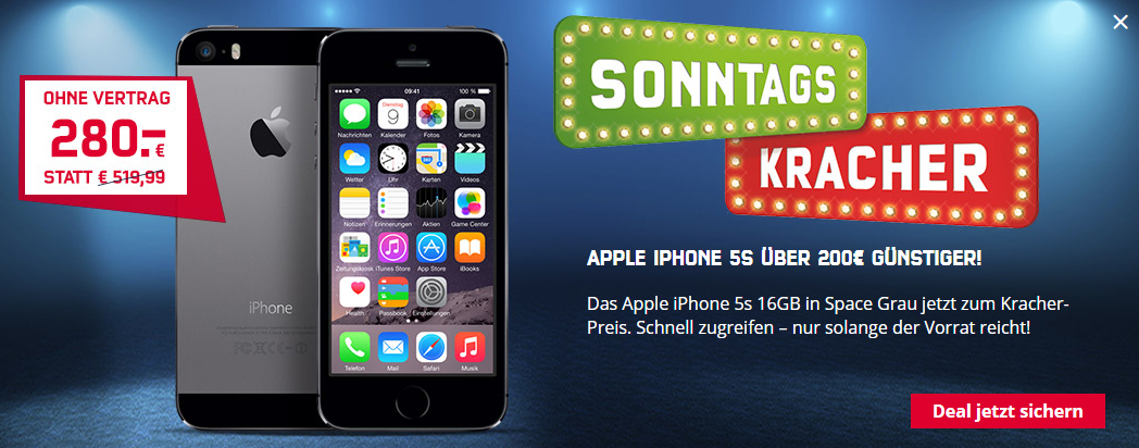iphone 5s 16gb ohne vertrag nur 280 euro handytariftipp. Black Bedroom Furniture Sets. Home Design Ideas