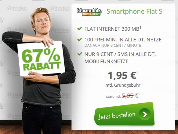 300 MB Internet Flat + 100 Minuten + Telekom Netz nur 1,95€ mtl.