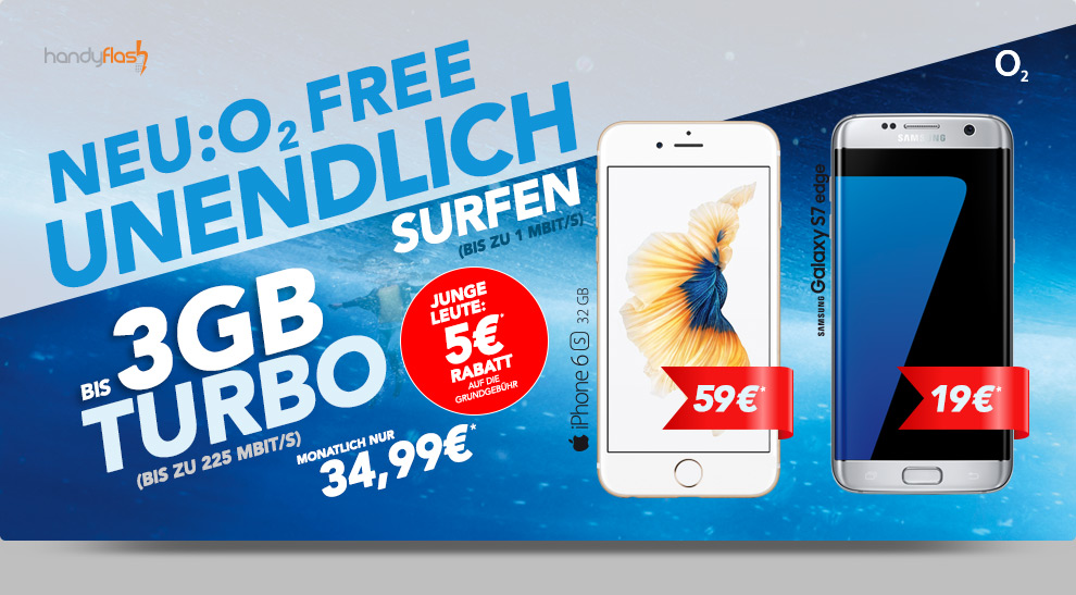 o2 Free M 2GB + Samsung Galaxy S7 Edge nur 34,99€ mtl.
