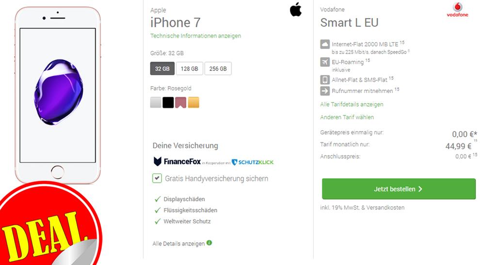 Smart L EU + iPhone 7 + Handyversicherung nur 44,99€ mtl.