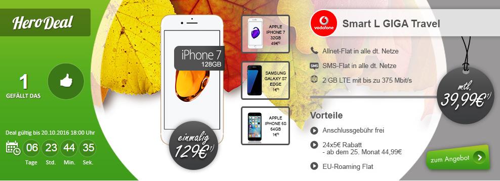 Apple iPhone 7 VF 128 GB+ Vodafone Smart L nur 39,99€ mtl.
