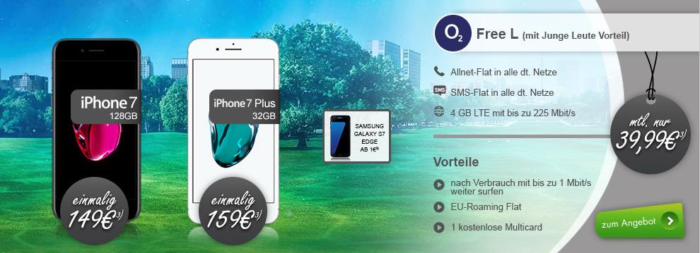 o2 Free L + iPhone 7+ 4GB LTE + EU nur 44,99€ mtl.