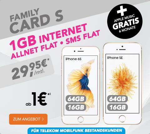 iPhone 6s + Telekom Family Card S nur 29,95€ mtl.