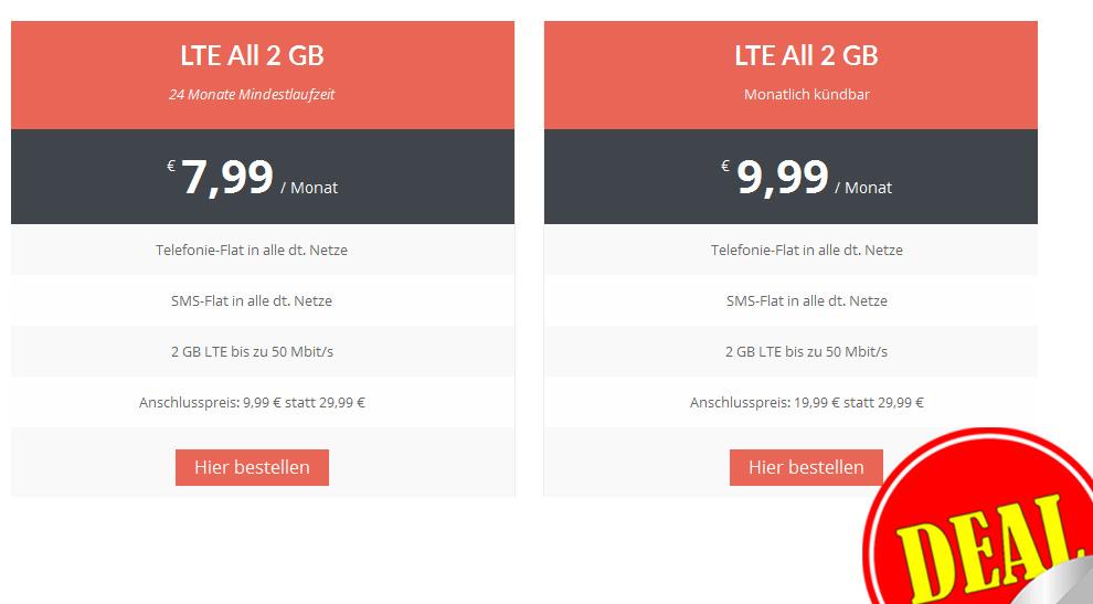 LTE Allnet 2 GB + SMS Flat nur 7,99€ mtl.