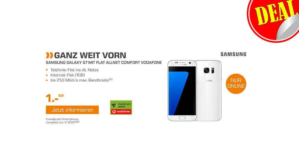 Samsung Galaxy S7 + Allnet + 1GB + Vodafone Netz nur 19,99€ mtl.