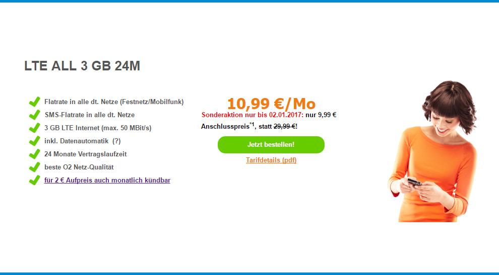 3GB LTE + Allnet Flat + SMS Flat nur 10,99€ mtl.