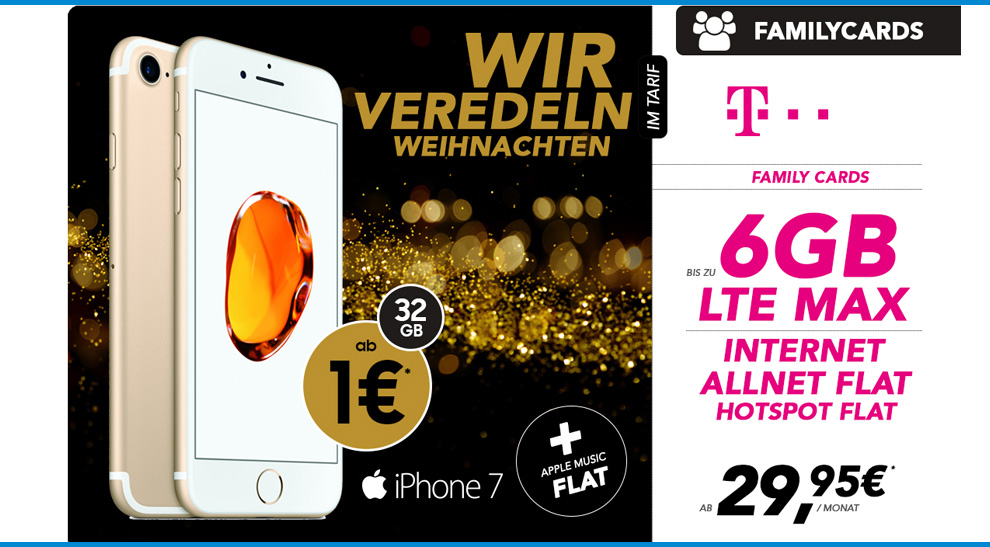 Telekom Family Card S Mit Iphone 7 F 252 R Nur 29 95 Mtl