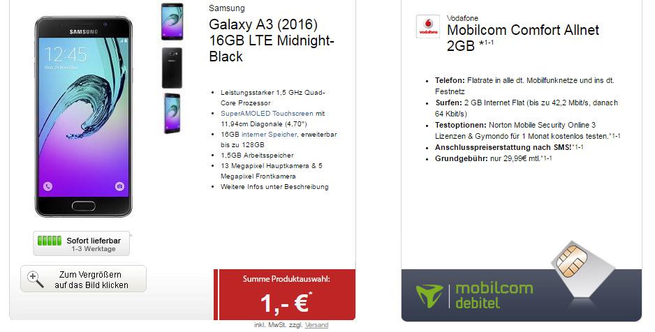 PS4 Slim 1TB + Samsung A3 + Allnet + 2GB nur 29,99€ mtl.