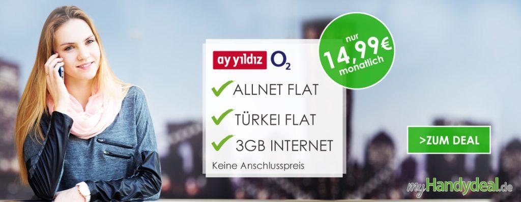 Ay Yildiz ay Allnet + 3 GB + Türkei Flat nur 14,99€ mtl.