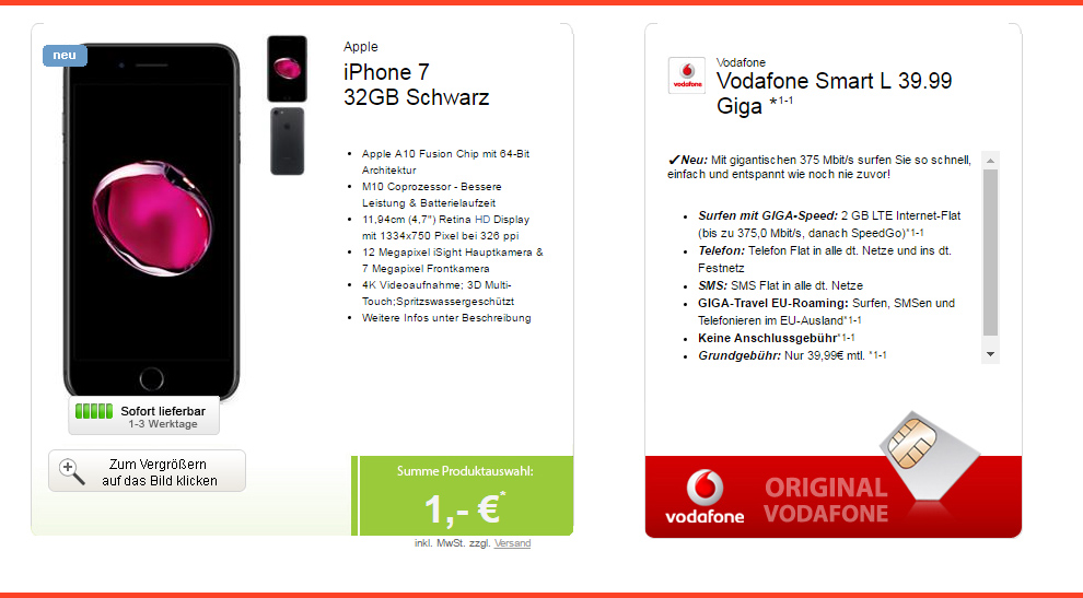 iphone 7 vodafone smart l mtl handytariftipp. Black Bedroom Furniture Sets. Home Design Ideas