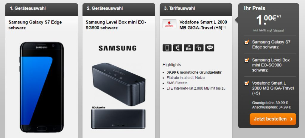 SMART L 2000MB LTE + Samsung S7 Edge + Mini Box nur 39,99€ mtl.