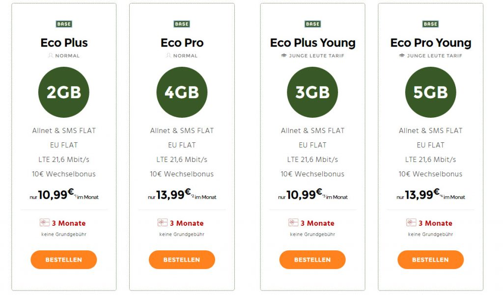 BASE Tarife mit Allnet und bis zu 5GB LTE ab 10,99€ mtl.