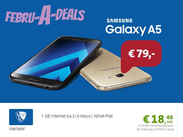 Galaxy A5 (2017) + Allnet + 1GB nur 18,48€ mtl.