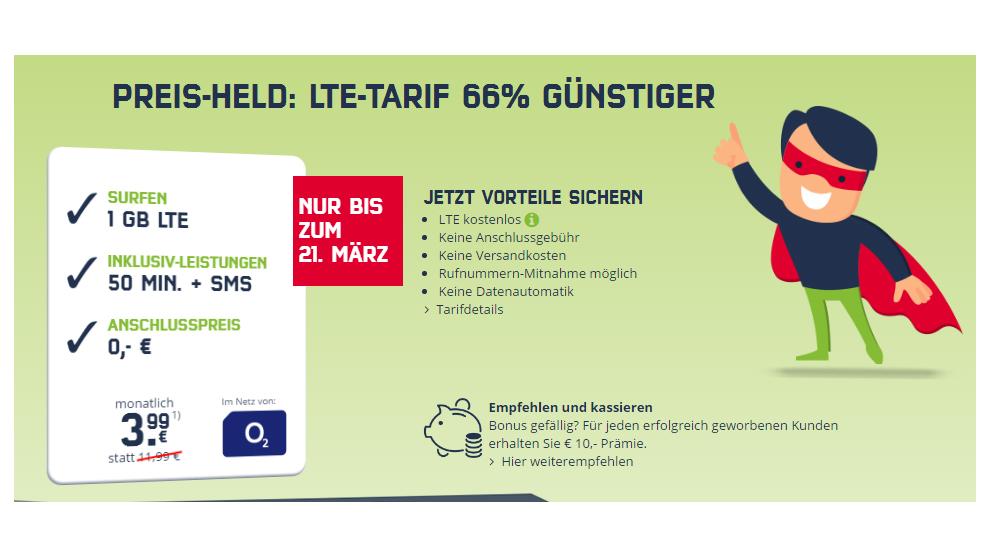 1 GB LTE + 50 Frei-Minuten & 50 Frei-SMS nur 3,99€ mtl.