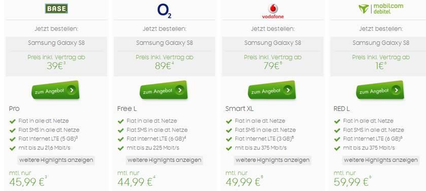 Samsung Galaxy S8 mit Vertrag ab 45,99€ mtl.